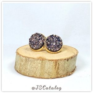 Bronze Chunky Druzy on Gold Plated Posts Earrings